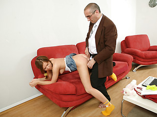 Old nasty teacher fills each single constricted hole of a bad student with his large firm jock.
