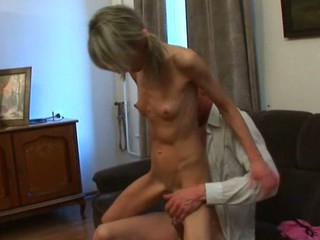 Hottie is having wild threesome with stud and old teacher
