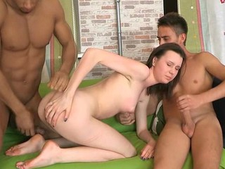 Beauty is charming two studs with her constricted cunt and mouth