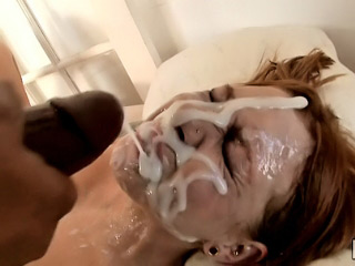Sexy babe got injected with heavy dose of cum on her face