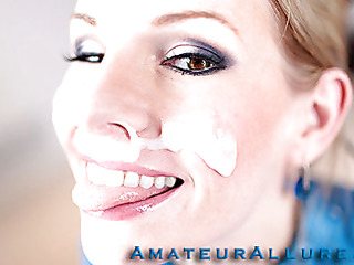 Aimee Addison returns to Amateur Allure and this time this babe wants a facial. This stunning golden-haired is tall, breasty and a very wicked cutie. That Babe is an amazing weenie sucker and that babe puts my knob to the test. I hold out as lengthy as I can after pounding her taut litte cunt. I discharge a huge load of thick and sticky cum all over her beautiful face. I scraped the sticky goo off her face with a spoon and feed it to her. That Babe absolutely can't live without it.