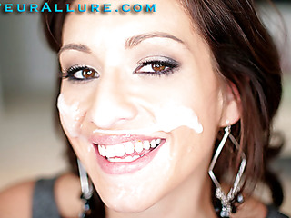 Makalie has a fresh company and is looking for a very specific recent employee to demo her product in womens homes. Jizz Facial Solutions sends out guys to get blowjobs and dump large loads of cum on womens faces then feed 'em the cum. My dream job. The interview consists of an outstanding oral-sex and twat fuck, followed by a cum facial. I love this job. I hope I get it.